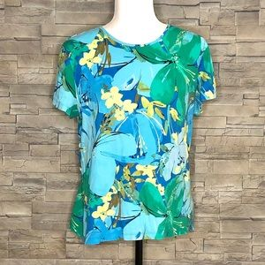 Croft & Barrow blue and green floral t-shirt